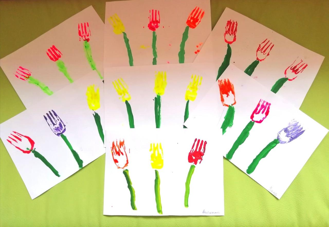 """Рисование одноразовыми вилками """"Наша клумба с тюльпанами"""""""